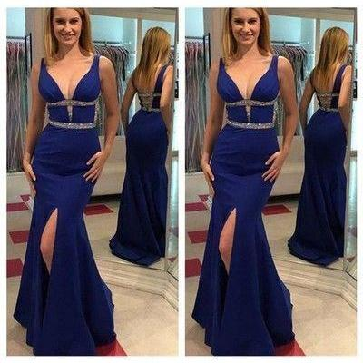 Royal Blue Sleeveless Long Mermaid ..