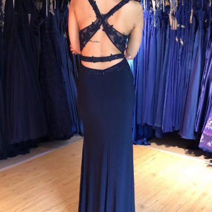 Navy Blue V Neck Backless Top Lace ..