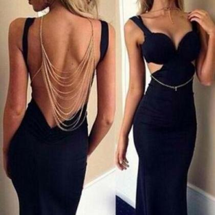 Sexy mermaid open back prom dress,s..