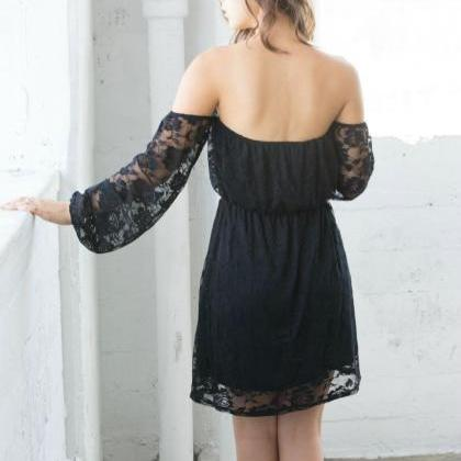 Black Off-Shoulder Prom Dress,Short..