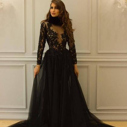 Gorgeous Black Lace Long Sleeves Pr..