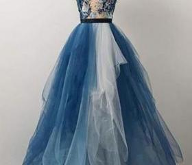 Blue tulle lace appl..