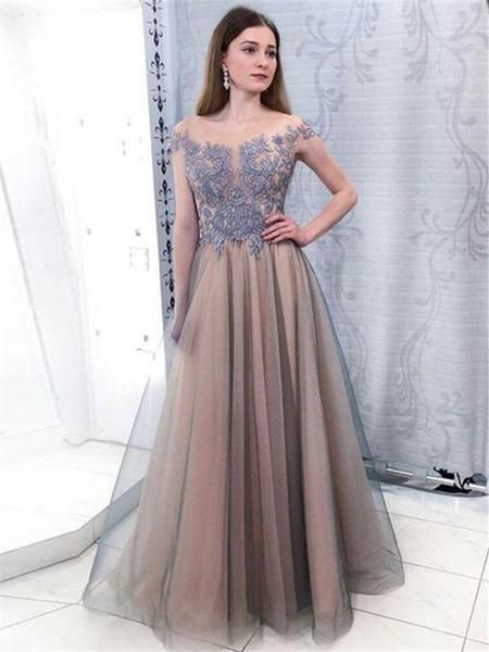 Elegant A-line Floor-length Appliques Prom Dresses, Cap Sleeves Long Tulle Prom Dresses.P168