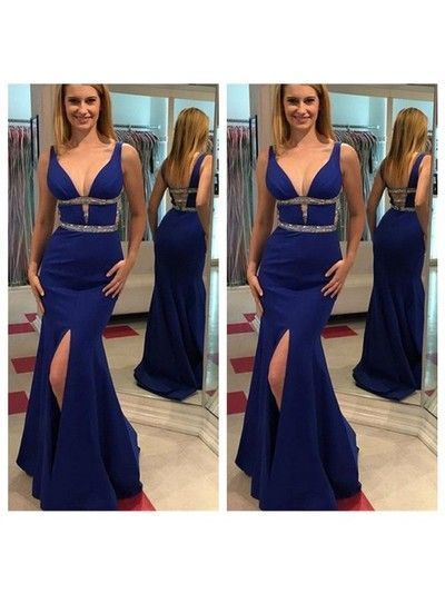 Royal Blue Sleeveless Long Mermaid Prom Dresses, Sexy Open Back Evening Dresses.Charming Side Slit Prom Dresses.P250