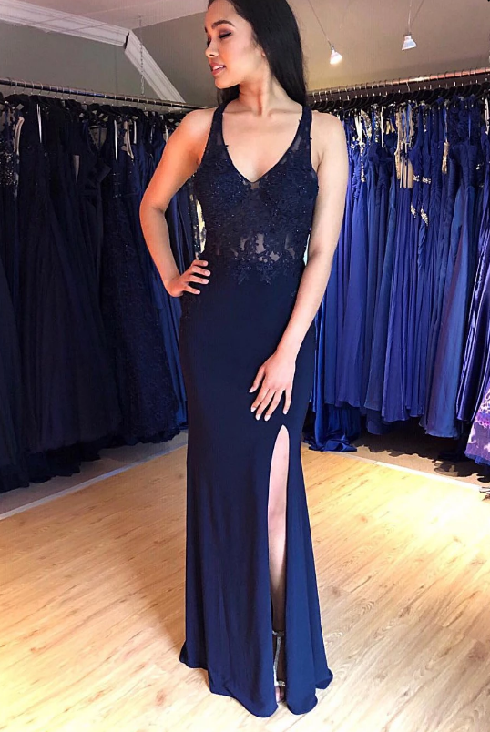 Navy Blue V Neck Backless Top Lace Beading Prom Dresses,Sexy Mermaid Side Slit Prom Dresses.P350