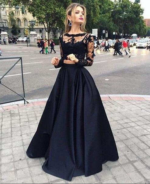black floor length homecoming dress,two piece evening dress, long sleeve lace prom dress,elegant satin prom dress.TP465