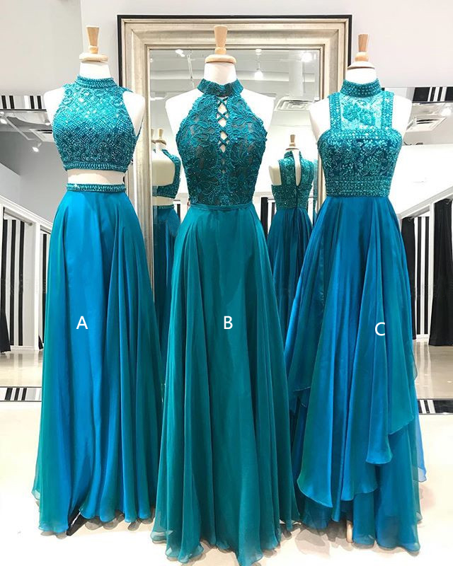 A-line Chiffon prom dresses,High neck prom dresses, Beaded Sleeveless prom dresses.P817