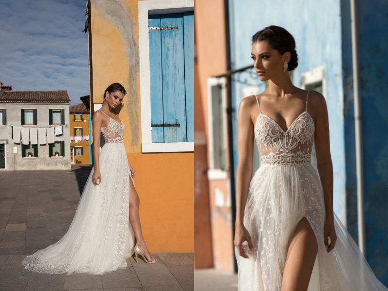Charming Beach Wedding Dresses,Side Slit Spaghetti Straps Sexy Boho Wedding Gowns,Sweep Train Backless Bridal Dresses.W1011