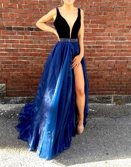 Elegant A-Line V-Neck Prom Dresses,Blue Organza Long Prom Dresses,Sexy Side Slit Evening Dresses.P1125
