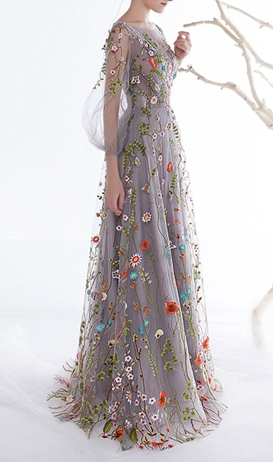 Pretty Floral Embroidery Prom Dresses,Elegant Long Sleeves Evening Dresses,Charming A-line Floor Length Evening Dresses.LS1164