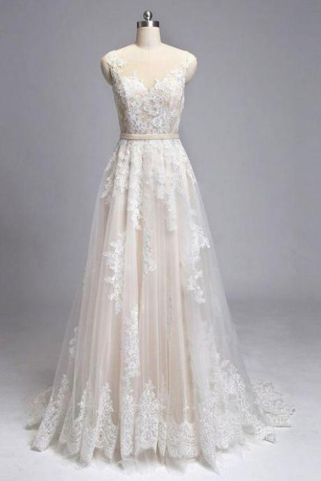 Champagne round neck tulle lace long weeding dress,Chic appliques bridal dress.W04