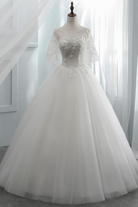 Tulle Scoop Neckline See-through Bodice Ball Gown Wedding Dress With Beaded Lace Applique.W11