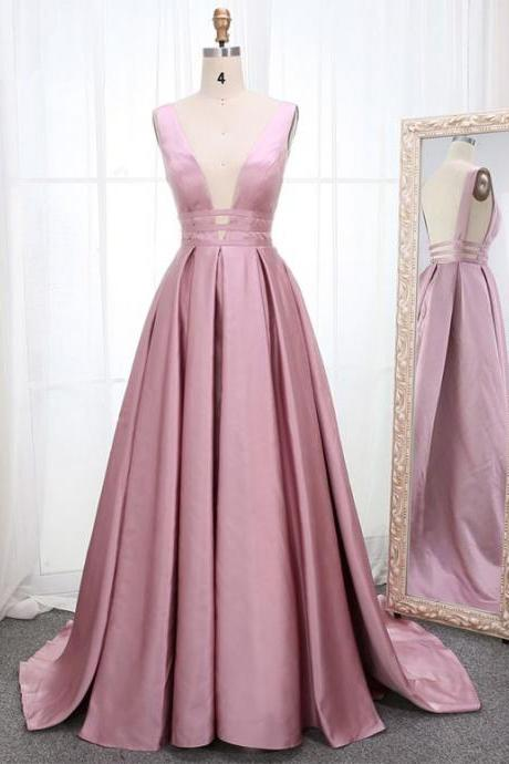 Pink Satin Open Back Long Prom Dress, Pink Sleeveless Prom Dress.P14
