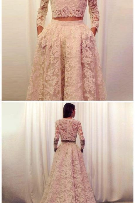 Charming Lace Prom Dress,Sweep Train Lace Prom Dresses,Two Pieces Prom Dresses,A-Line Prom Gowns.P23