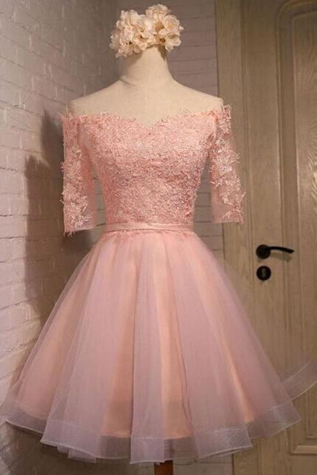 Cute Off The Shoulder Pink Tulle Homecoming Dress,Short Appliques Lace Homecoming Dress.PH25