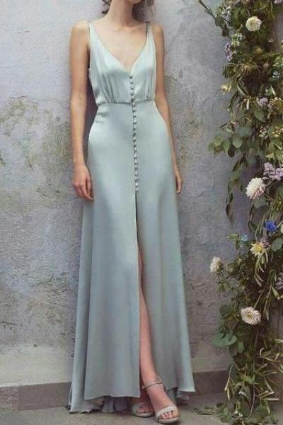 Low Cut Deep V Neck Blue Maxi Dress,Sexy Satin Long Prom Dress .P29