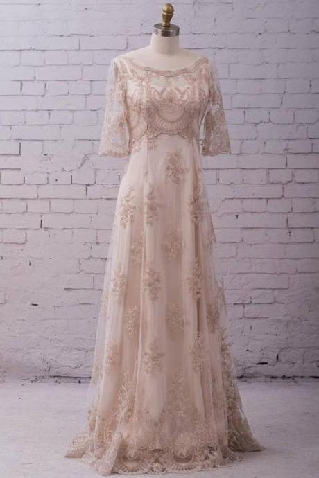 Lace Wedding Gown Wedding Dress with sleeves, buttons up back and train, classic and simple.W35