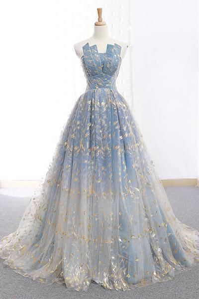 Strapless blue long tulle a line prom dress, formal floral tulle prom dress.P47