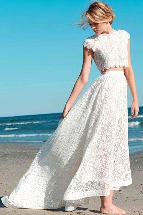 Romantic Appliques Two Pieces evening gowns,custom made prom dress, Beach Wedding Dress Lace Bridal Gown High Low Dresses.TP66