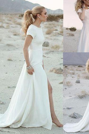 white open back bridal dress, short sleeve prom dress,simple beach wedding dress, evening dress.W67