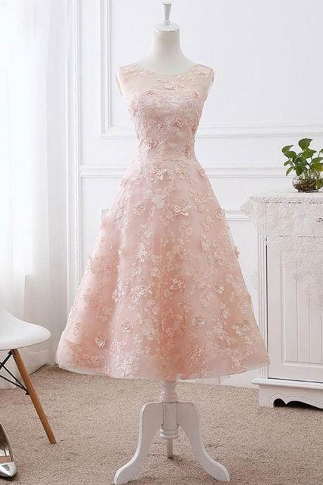 Beautiful Princess Light pink prom dress,Sleeveless Appliques evening dress.MD82