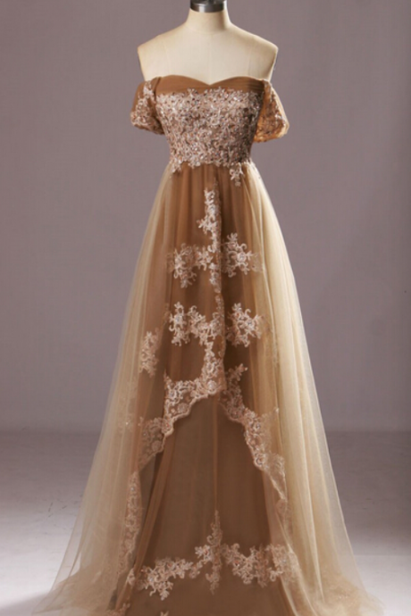 New Off the Shoulder Lace Prom Dresses,Floor-length Prom Dresses,Wedding Guest Prom Gowns, Formal Occasion Dresses.P86