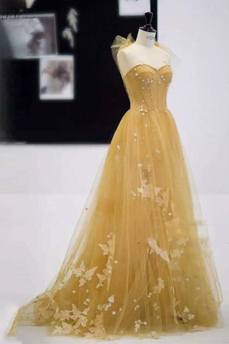 Sweetheart champagne tulle long A-line 3/4 cover evening dress,Homecoming dress with applique.P87