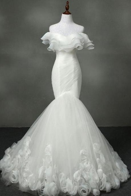 White wedding dress,mermaid tulle wedding dress, off the shoulder wedding dress.W93
