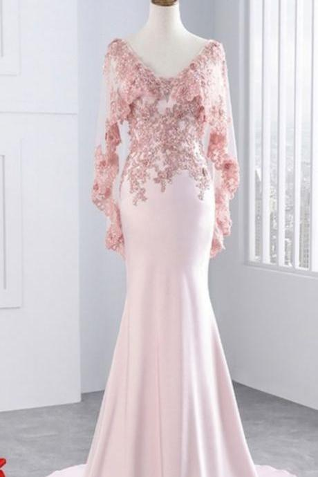 Lace mermaid prom dress, long party and gauze shawl formal evening dress.P97