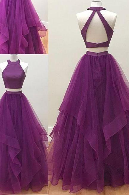 Simple two pieces tulle long prom dress,Sleeveless tulle evening dress.TP104