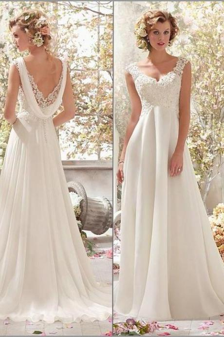 Stunning Tulle wedding dress,Appliques V-neck prom dress,Raised Waistline A-line Chiffon Wedding Dress.W112