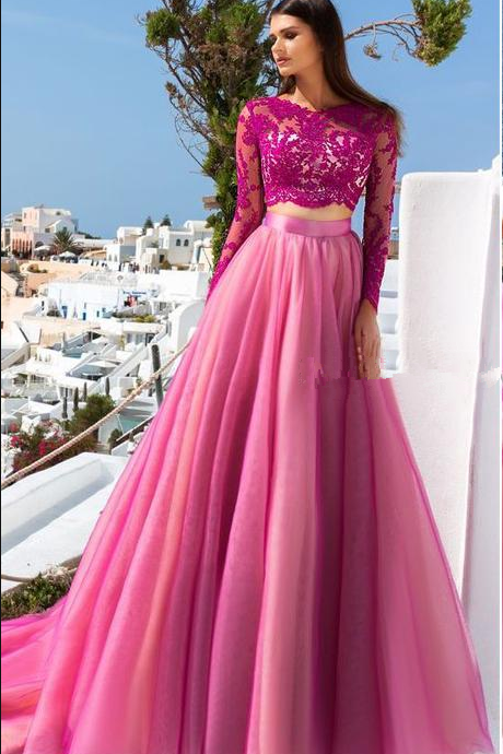 Hot Pink Tulle Lace Evening Dresses, Long Sleeves Open Back Two Piece Prom Dress,Round collar Party Dresses Evening Gowns.TP126