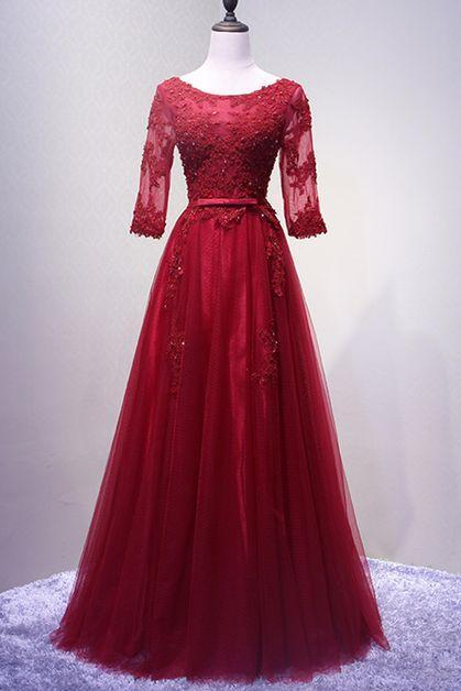 Lace Midi Sleeve Long Formal Prom Dress With Appliuques.P128