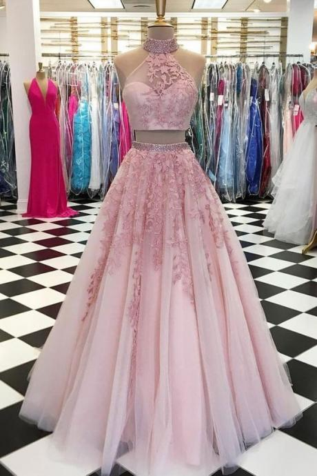Pink two pieces tulle lace appliques homecoming dress,sleeveless evening dress.TP139