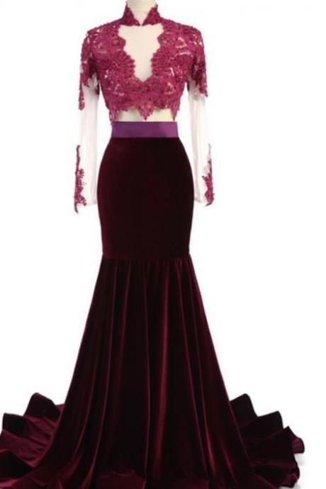 Long sleeve appliques formal prom dress,chic beading the full-length velvet gown.F143