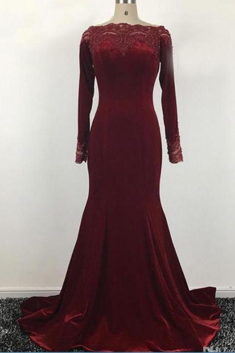 Long Sleeves Suede Mermaid Prom Dress,Elegant Scoop Neck Evening Dress.LS144
