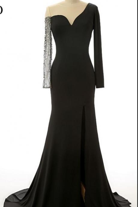 Black Mermaid Side Slit Long Prom Dresses,Chic Long Sleeves Evening Dresses.F145