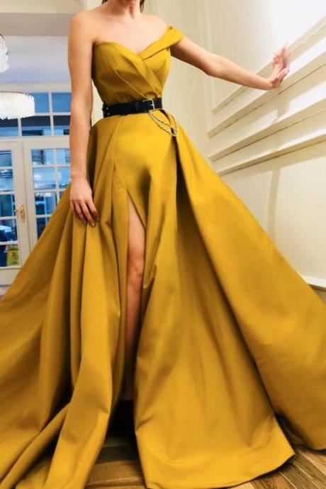 Chic One Shoulder Yellow Prom Dresses,Charming Side Slit Formal Graduation Evening Dresses.P147
