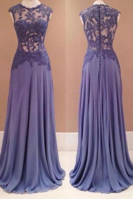 A line round neck chiffon evening dresses,sleeveless lace appliques long prom dress.P163