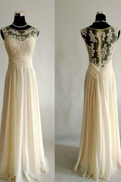 Sleeveless Chiffon Lace Wedding Dress,Round Collar Appliques With Beads Tulle Wedding Dress.W181