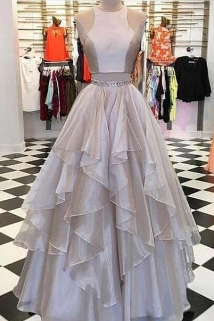 Champagne Sleeveless Two Pieces Prom Dresses,Layered Organza Evening Dresses,Beautiful Long Party Dresses.TP193