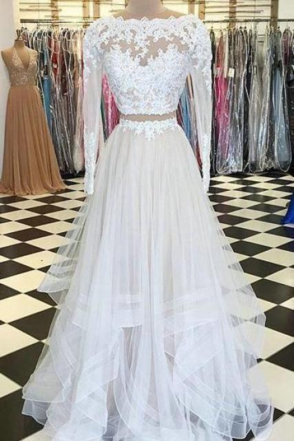 Elegant Long Sleeve Lace Two Pieces Prom Dresses,Layered Tulle Evening Dresses,Beautiful Long Party Dresses.TP194