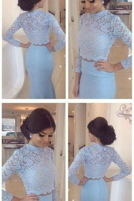 Charming long sleeves mermaid evening dress, elegant light blue lace appliques formal dresses,sexy open back formal prom dresses.TP204