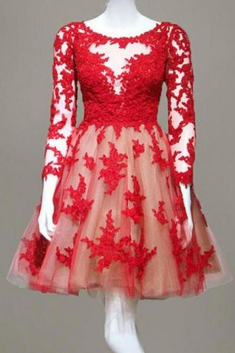 Red Tulle Short Homecoming Dresses,Long Sleeve Lace Homecoming Dresses,Fashion Appliques Evening Dresses.MN220