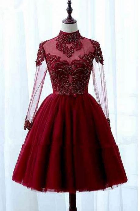 Red Tulle High Collar Short Homecoming Dresses,Long Sleeve Lace Homecoming Dresses,Appliques Evening Dresses.MN221