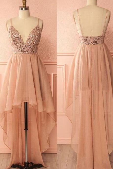 Pink Sequin Open Back Tulle Prom Dresses,Charming Spaghetti Strap Evening Dresses,Fashion High-Low Homecoming Dresses.HL222