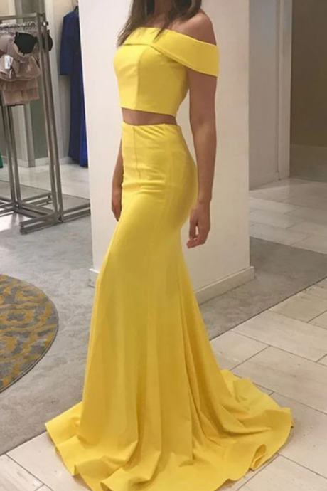 Charming Yellow Mermaid Prom Dresses, Sexy Off-The-Shoulder Two Pieces Prom Dresses.TP240