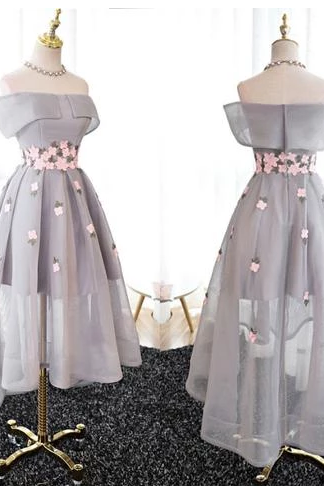 Elegant A-Line Off-Shoulder Homecoming Dresses,Chic High-Low Gray Organza Prom Dresses,Beautiful Appliques Evening Dresses.HL241