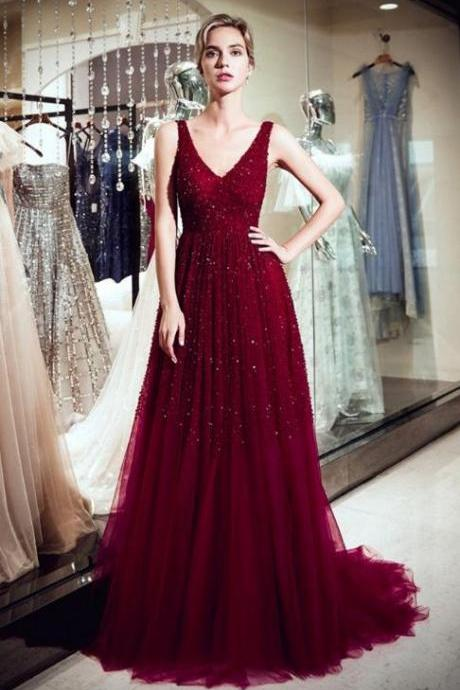 Red Sleeveless Tulle Evening Dresses,Sparkle V-neck Brush Train Formal Prom Dresses.R268