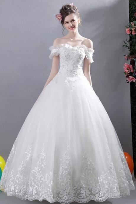Beautiful Off-The-Shoulder Lace Bridal Dresses,Charming Appliques Wedding Dresses,Chic Long Bridal Gown.W299